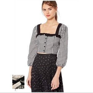 BCBGeneration NWT Black Gingham Cropped Top